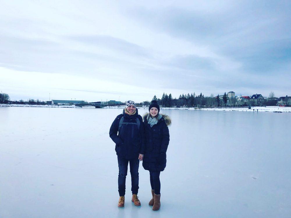 Iceland frozen lake